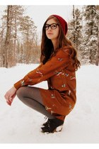 burnt orange bird print asos dress - crimson handmade hat