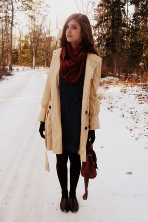 eggshell Tulle coat - navy thrifted dress - black unknown brand tights