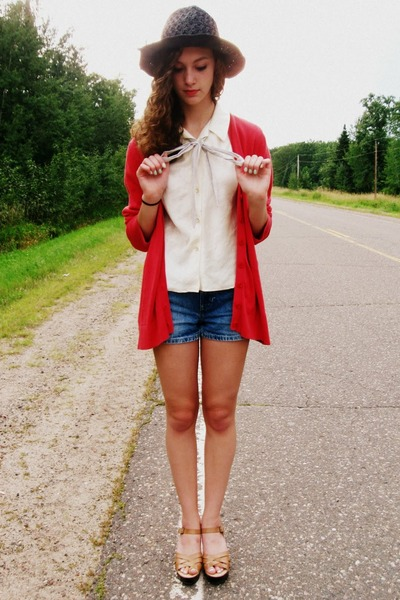 vintage blouse - unknown brand hat - Old Navy shorts - thrifted cardigan
