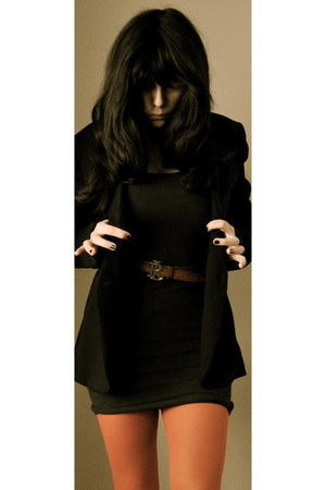 black vintage Mums dress - black YSL blazer - carrot orange tezenis tights