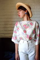 pink Secondhand blouse - white Secondhand shorts - brown a friends hat