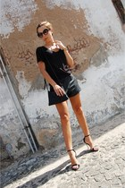 black zipper Parfois bag - black leather shorts Ebay shorts