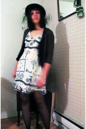 thrifted vintage hat - Jacob cardigan - Lmitee dress - Hanes tights
