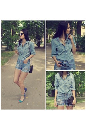 blue denim shorts Tommy Hilfiger shorts - black leather BagSac bag