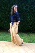 Primark bag - mustard River Island pants - navy Primark blouse
