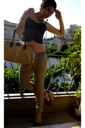 beige Avon bag - beige Rinascimento pants - BOZIKIS wedges - BLANCO necklace