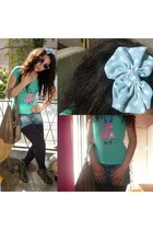 pull&bear ring - pull&bear ring - dark brown Topshop bag - sky blue Zara shorts