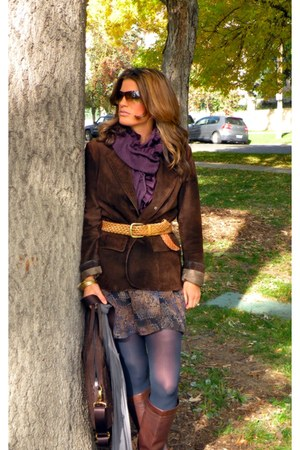 leather Frye boots - xhilaration dress - merona tights - JCrew scarf