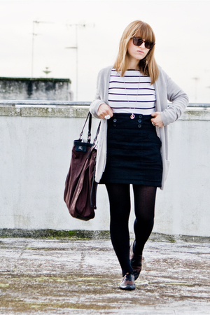 stripes H&amp;M shirt - lolita shoes - ray ban wayfarer sunglasses