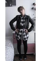 black H&M jacket - Oysho shirt - gray H&M dress - silver Zara shoes