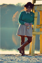 teal cable knit thrifted vintage sweater - brown Michael Kors boots