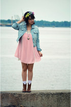 brown ankle vintage boots - pink tent Topshop dress