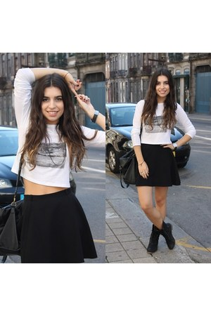 black H&M skirt - white Zara sweater
