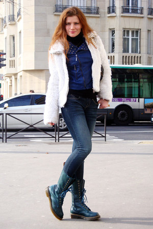 teal Dr Martens boots - navy random jeans - blue perfecto vintage jacket - white