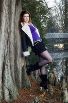 black random boots - black pilot jennyfer jacket - black tights - purple random
