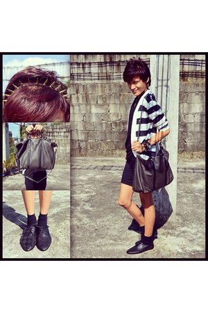 black Forever 21 shoes - gray Mango bag - black DIY shorts