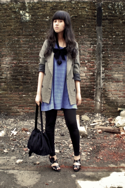 Thrift Store blazer - Body & Soul dress - Topshop leggings - Blackmimi necklace