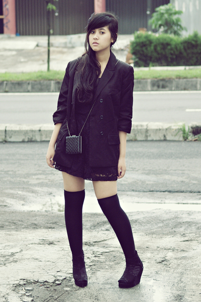 black Topshop blazer - black Topshop suit - black gift accessories - black sox g