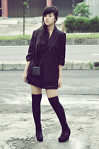 black Topshop blazer - black Topshop suit - black gift accessories - black sox g