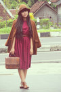 Brown-asos-boots-maroon-floral-vintage-dress-brown-floppy-pull-bear-hat