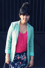 Hot-pink-floaty-body-soul-blouse-aquamarine-boyfriend-vintage-blazer