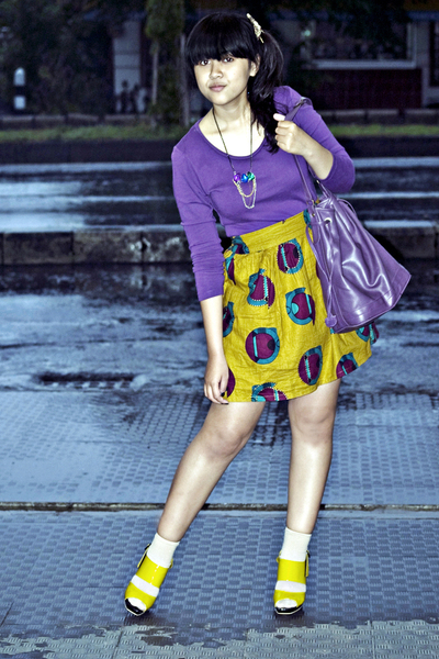 yellow Chrysalis shoes - purple Topshop dress - purple vintage bag