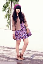 brown Thrift Store jacket - purple Topshop dress - purple Forever 21 hat - brown