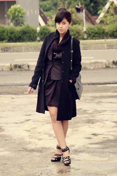 black vintage coat - gray Thrift Store vest - gray H&M dress - black Topshop ski
