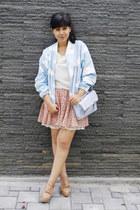light blue Choies jacket - periwinkle asos bag - off white milanoo top