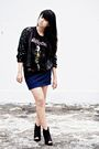 Black-vintage-cardigan-black-fruit-of-the-loom-t-shirt-blue-solemio-skirt-