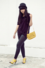 Black-bloop-relaxing-dress-black-ceil-leggings-black-saks-fifth-avenue-hat-