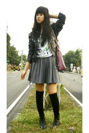 Wilsons jacket - sash t-shirt - Thrift Store skirt - sox gallery socks - vintage