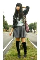 Wilsons jacket - sash t-shirt - Thrift Store skirt - sox gallery socks - vintage