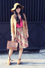 Camel-oasap-hat-brown-suede-polkadot-vintage-blazer