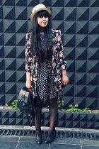 black polkadot skater Primark dress - black Primark coat