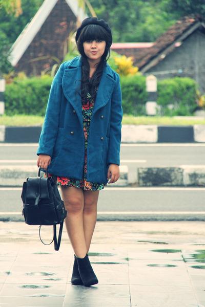 teal wool blend milanoo coat - black asos boots - black River Island dress