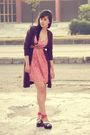 Brown-dloops-cardigan-pink-local-boutique-dress-brown-vintage-belt-topshop