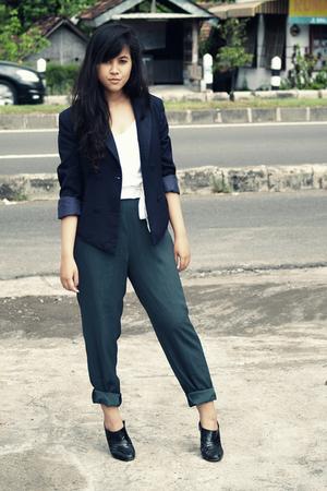 blue Thrift Store blazer - white H&M top - green vintage pants - black Custom-ma