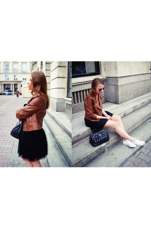black OASAP dress - tawny OASAP jacket - black caliope bag