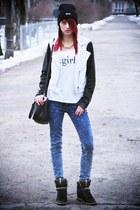 black Mango jacket - Mango bag - navy Mango pants - black Zara sneakers