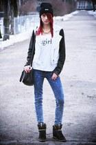 black Mango jacket - Mango bag - navy Mango pants - black Zara sneakers