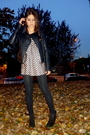 Black-topshop-jacket-pink-topshop-dress-black-zara-boots