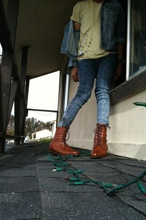 Fap t-shirt - Thrit Store jacket - Forever 21 jeans - brown Thrift Store boots