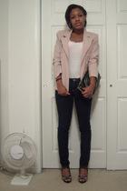 blazer - t-shirt - jeans - shoes - purse - bra
