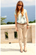 beige Zara pants - brown Zara shoes - blue Zara t-shirt