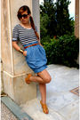 Blue-zara-dress-gold-bronx-shoes