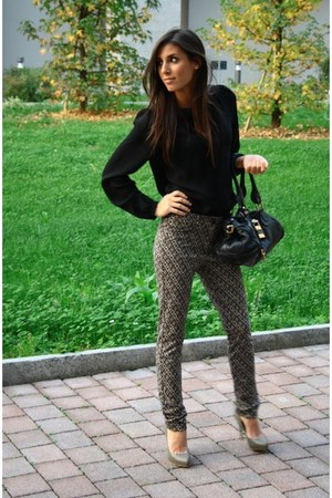 black Conbipel pants - black Zara shirt - black Chloe bag