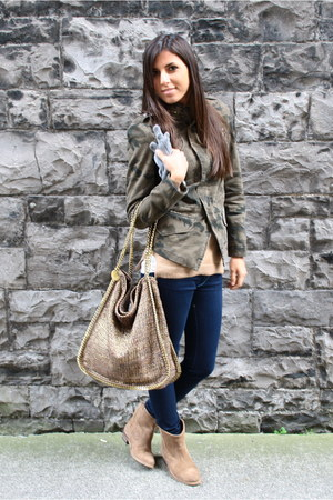 brown Stella McCartney bag - brown Zara boots - navy JBrand jeans