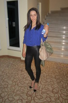 blue shirt - black leather leggings