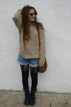 no brand boots - no brand sweater - Primark tights - vintage shorts - no brand b